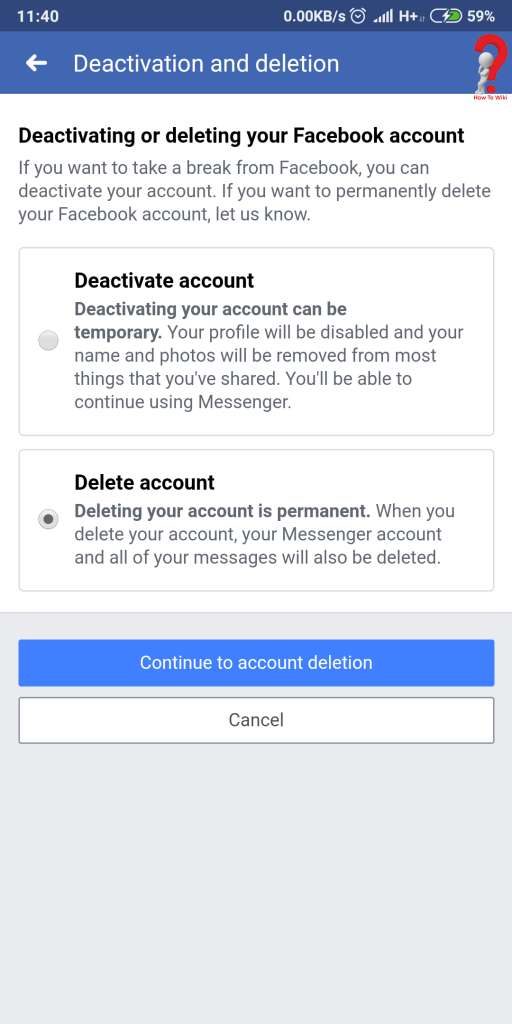Facebook Account Delete Option
