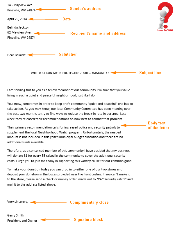 Business Letter Example For A Company