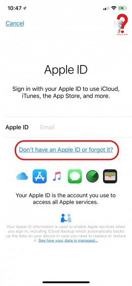 Create apple id account