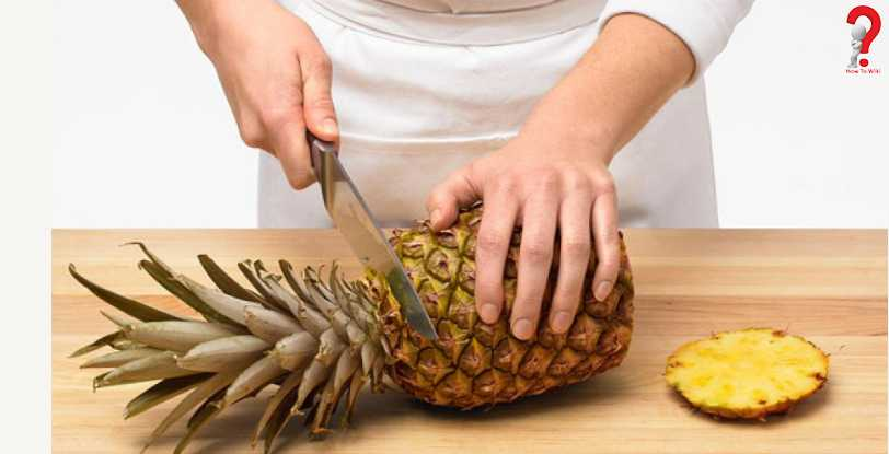 How to cut an open Pineapple into Chunks