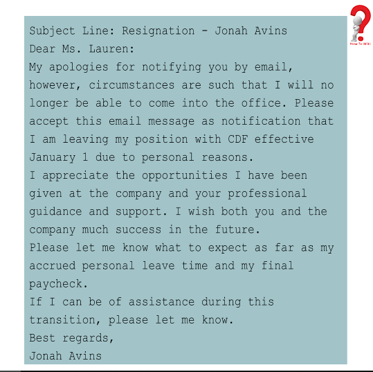 resignation email to manager