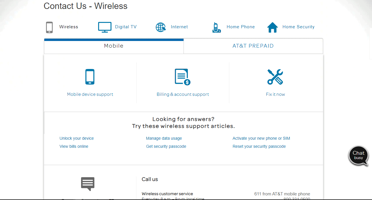 AT&T Contact Customer Support