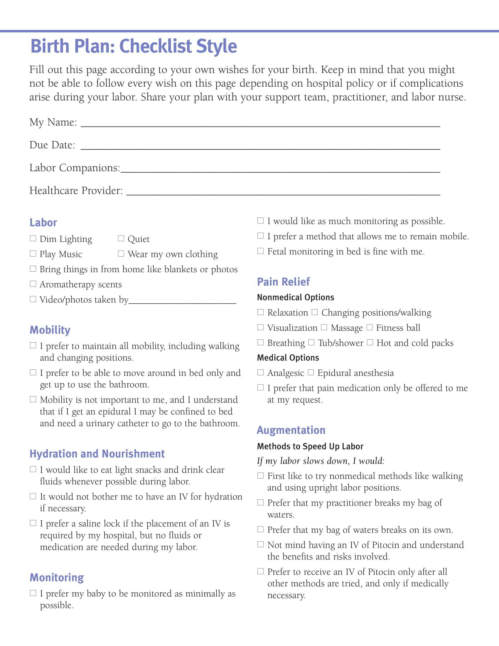 How To Write A Free Birth Plan Template