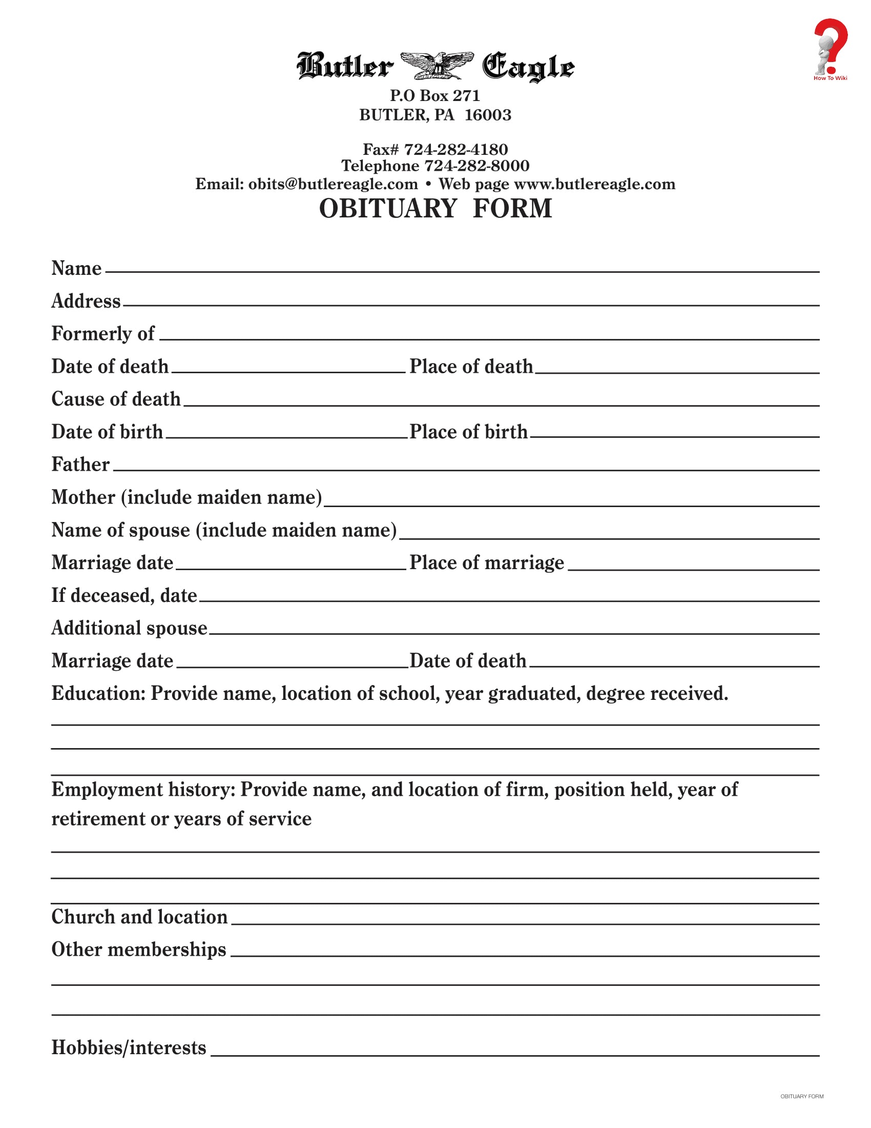 Fill In The Blank Obituary Template