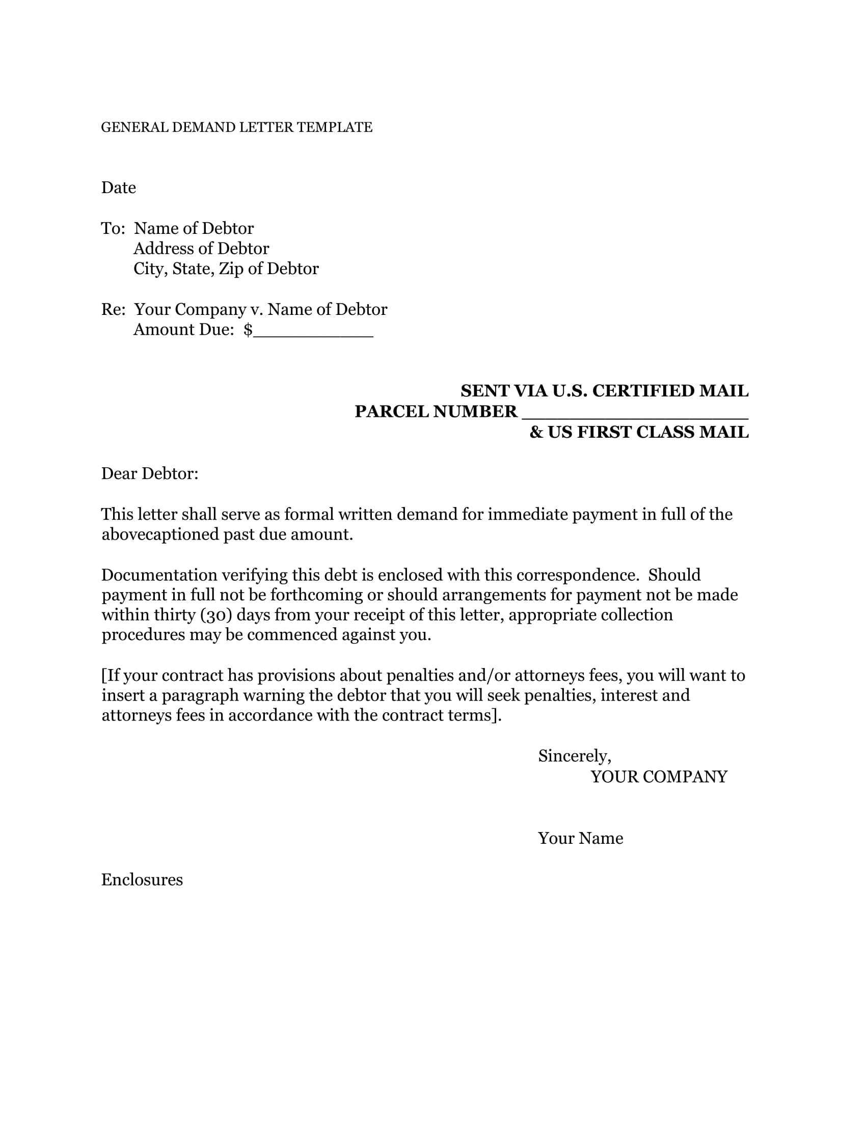 Demand Letter Template For Money Owed