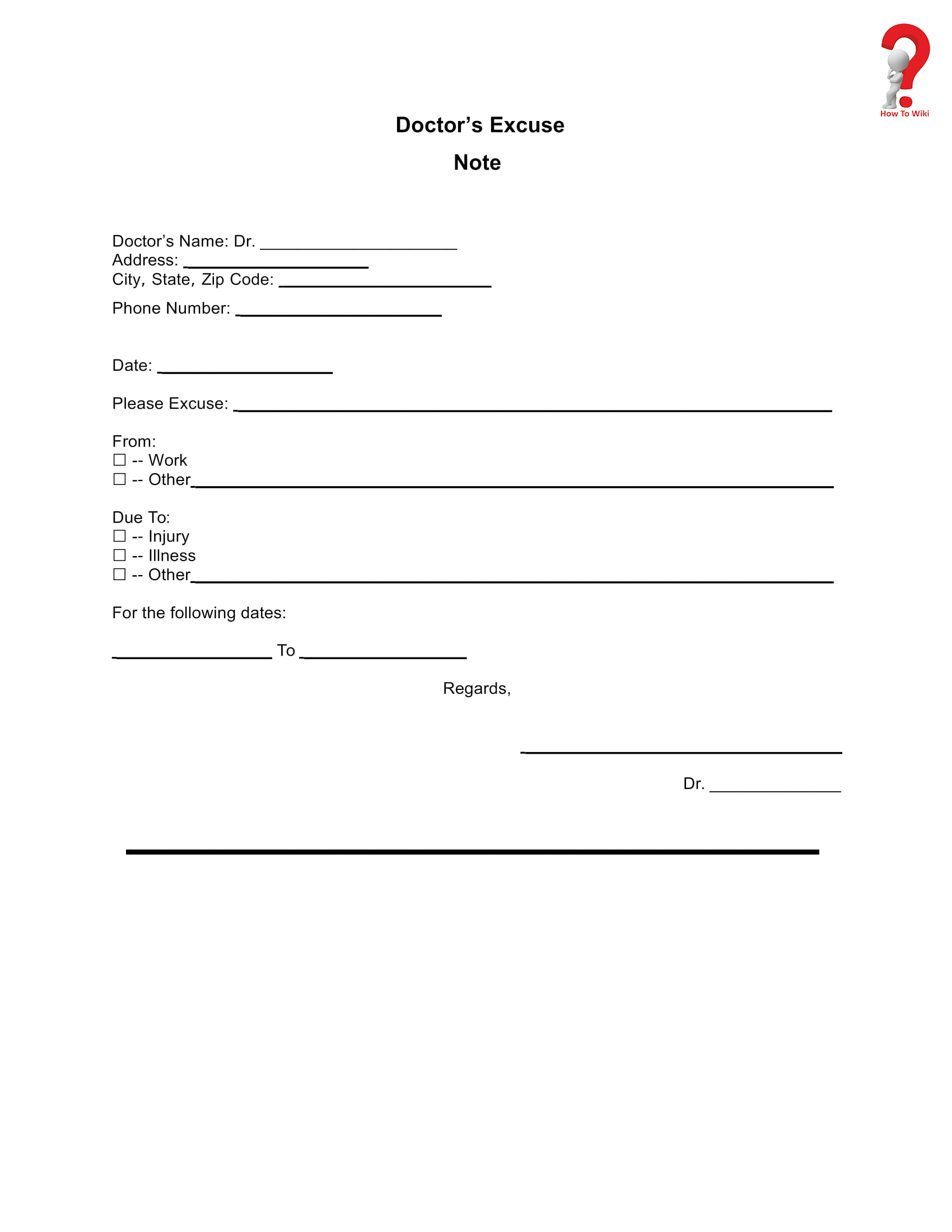 Printable templates for Doctor's notes