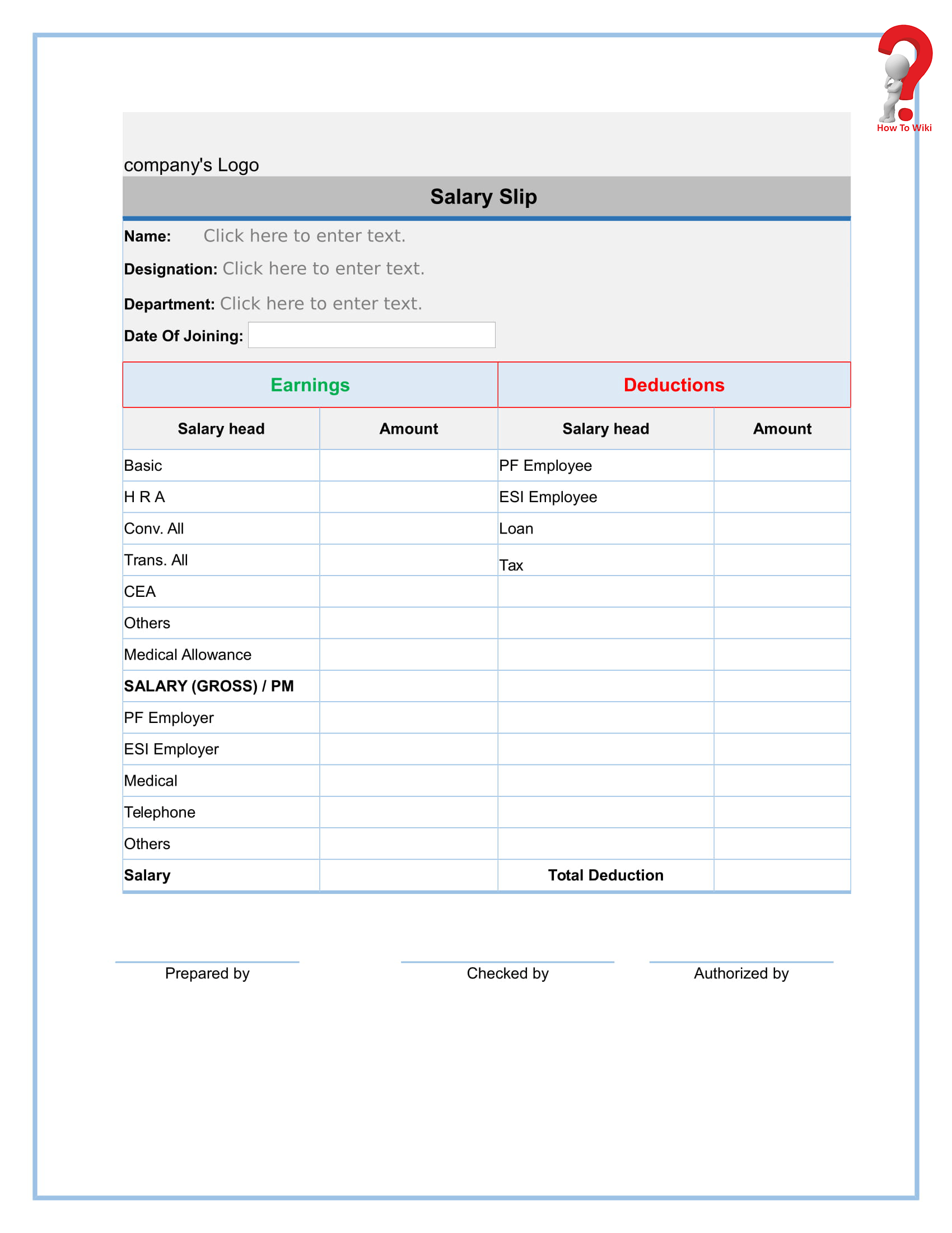How To Create A Free Payslip Template In Excel Pdf Word Format How To Wiki
