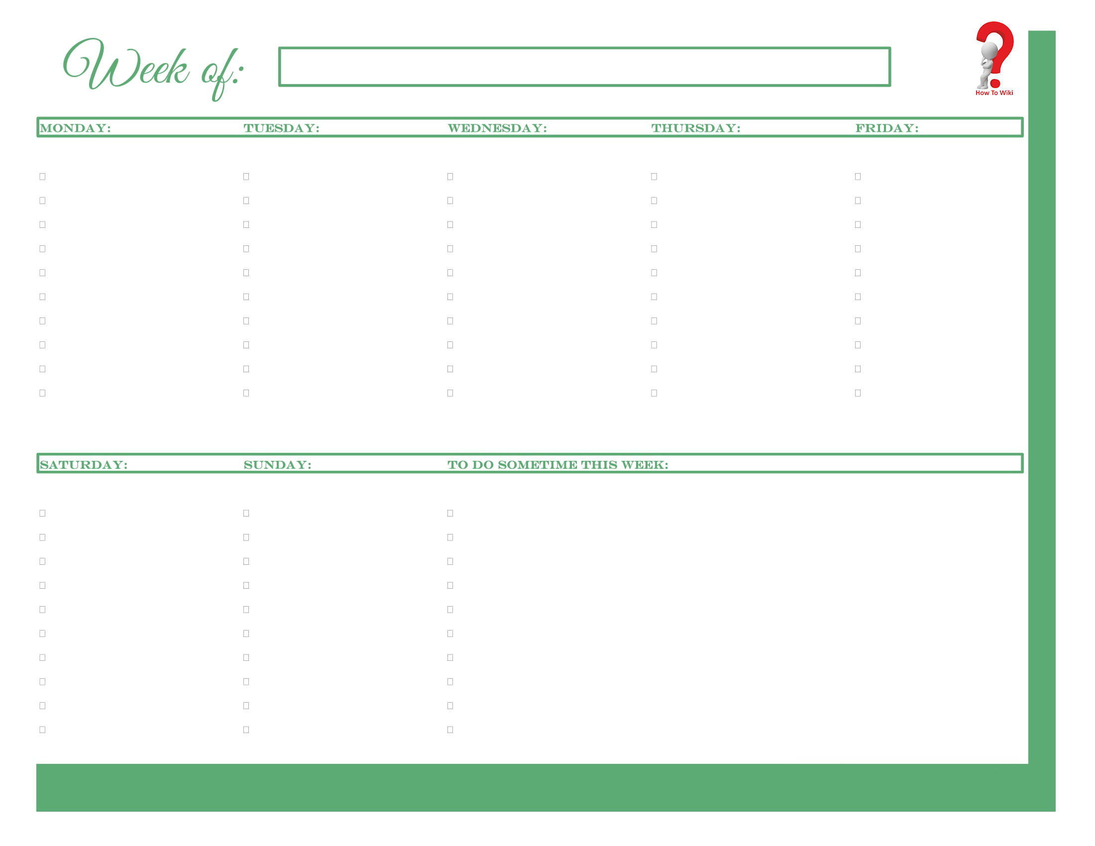 Weekly To Do List In Excel