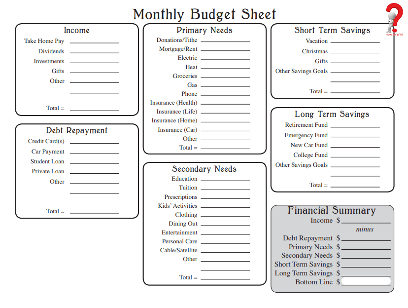 printable monthly budget
