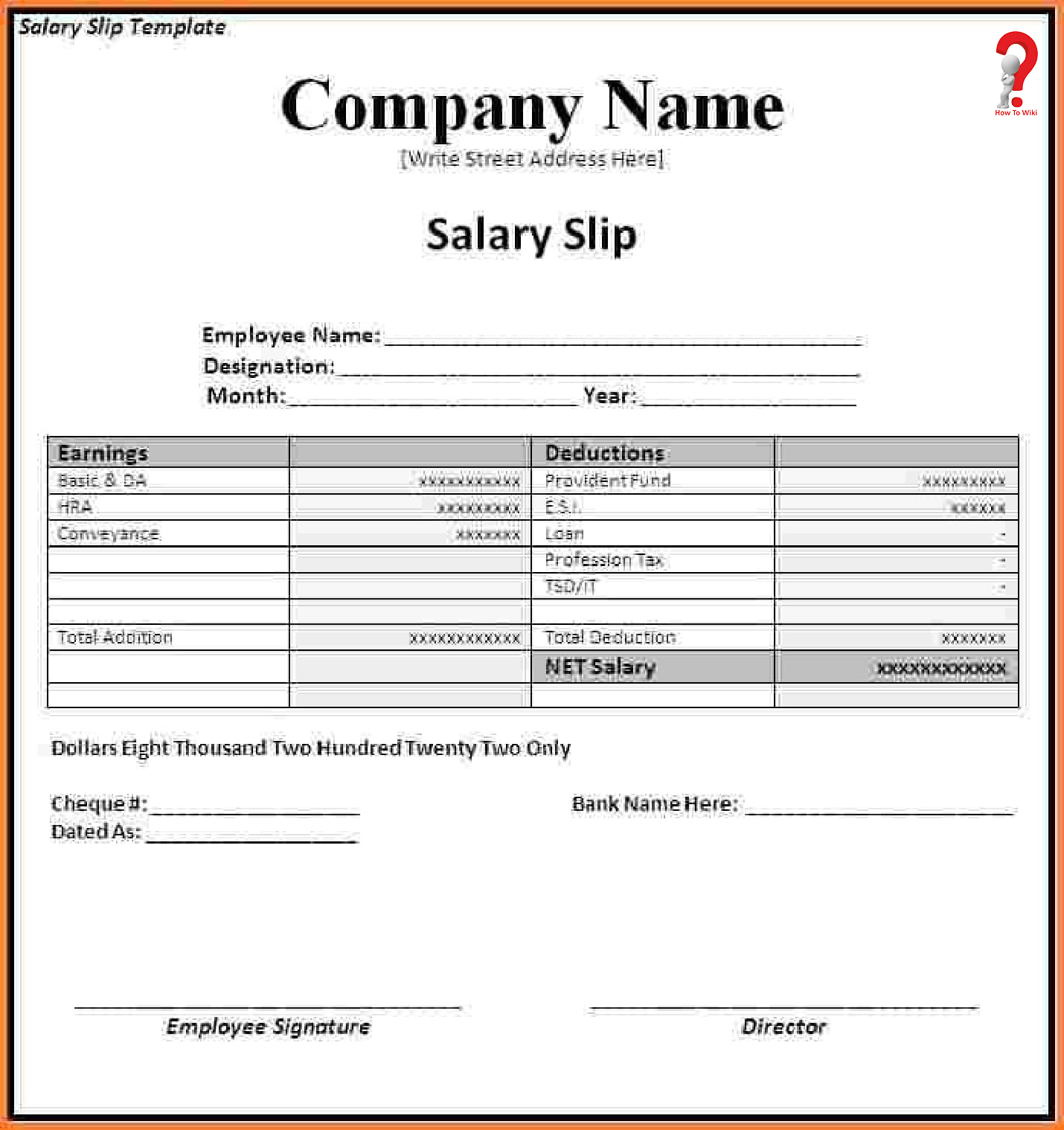 Sample Salary Slip Template Format