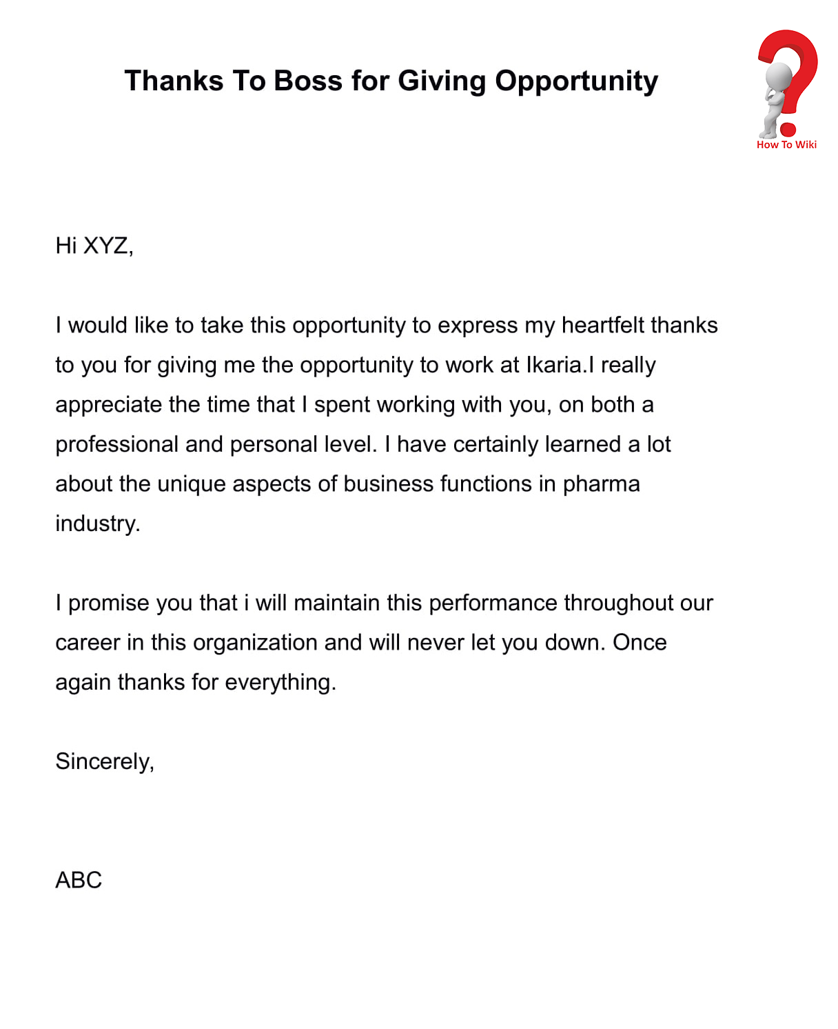 Thank you letter to boss for opportunity