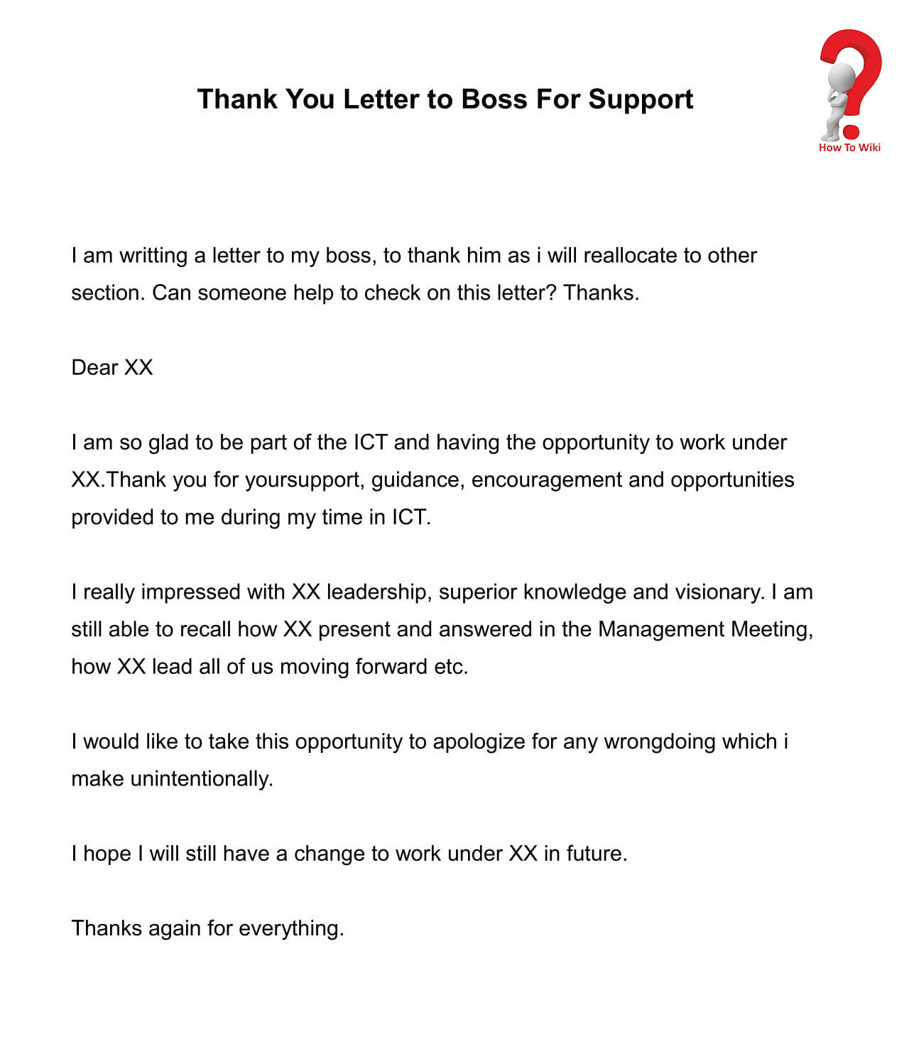Thank you Letter o boss for support
