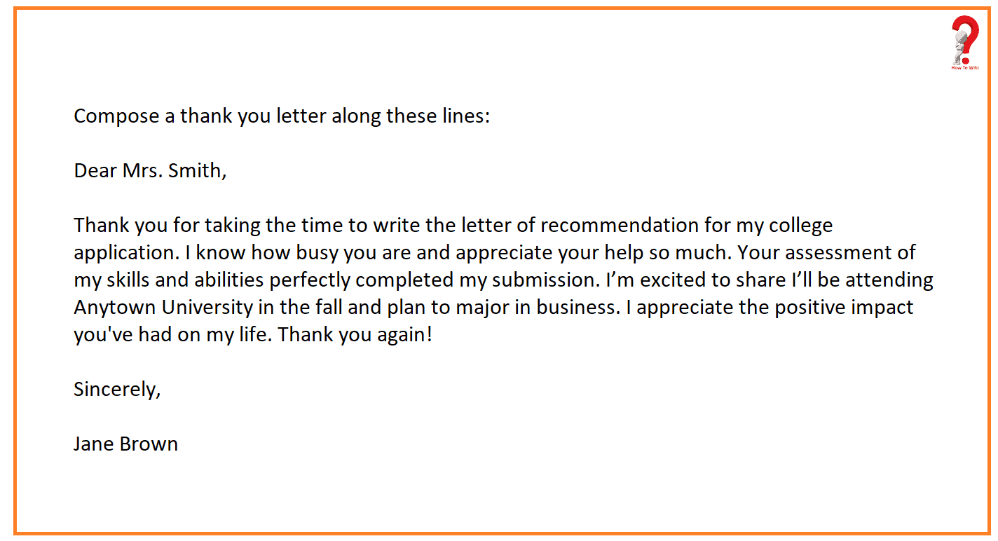 Thank You Note For Letter Of Recommendation