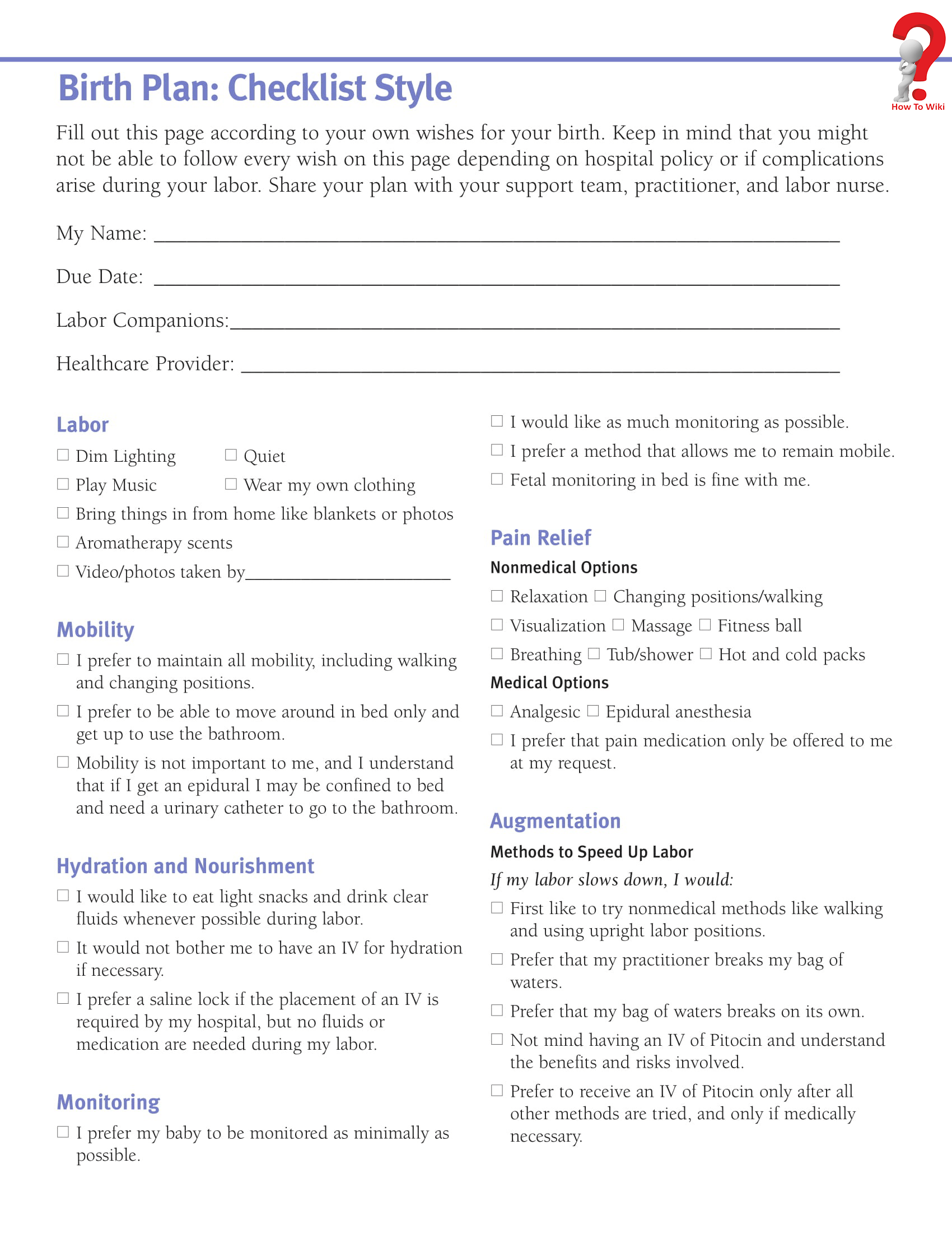 C Section Birth Plan Template