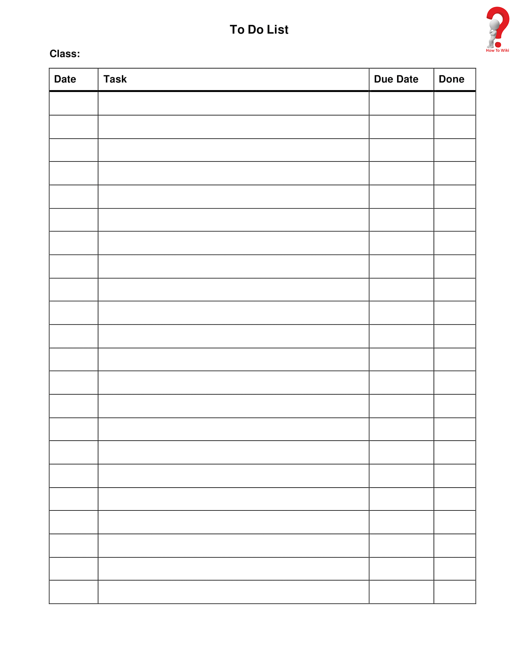 Daily To-Do List In Word