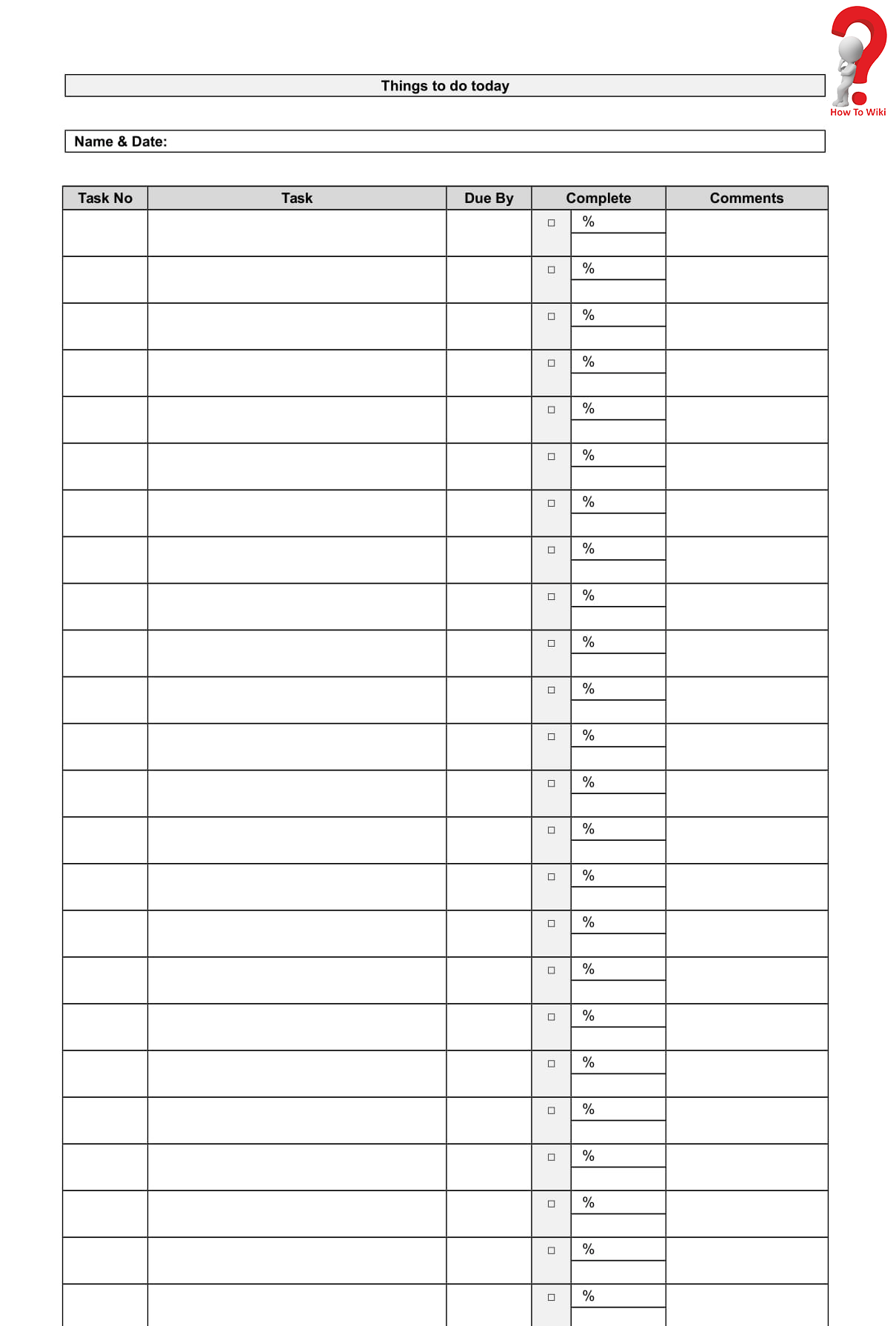 Printable Daily To Do List Template
