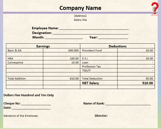 Payslip Word Template
