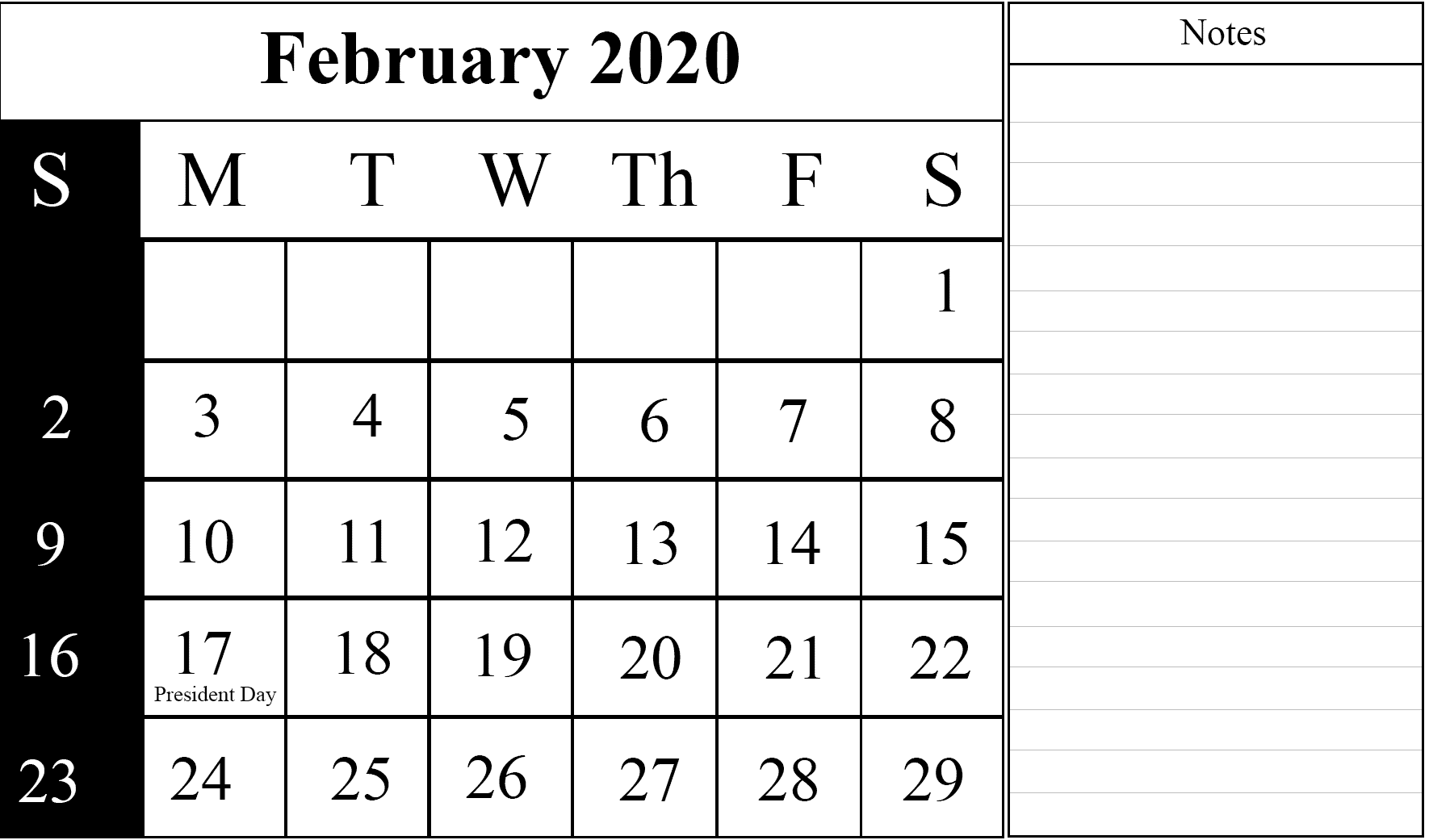 It is a picture of Versatile Free Printable Calendars February 2020
