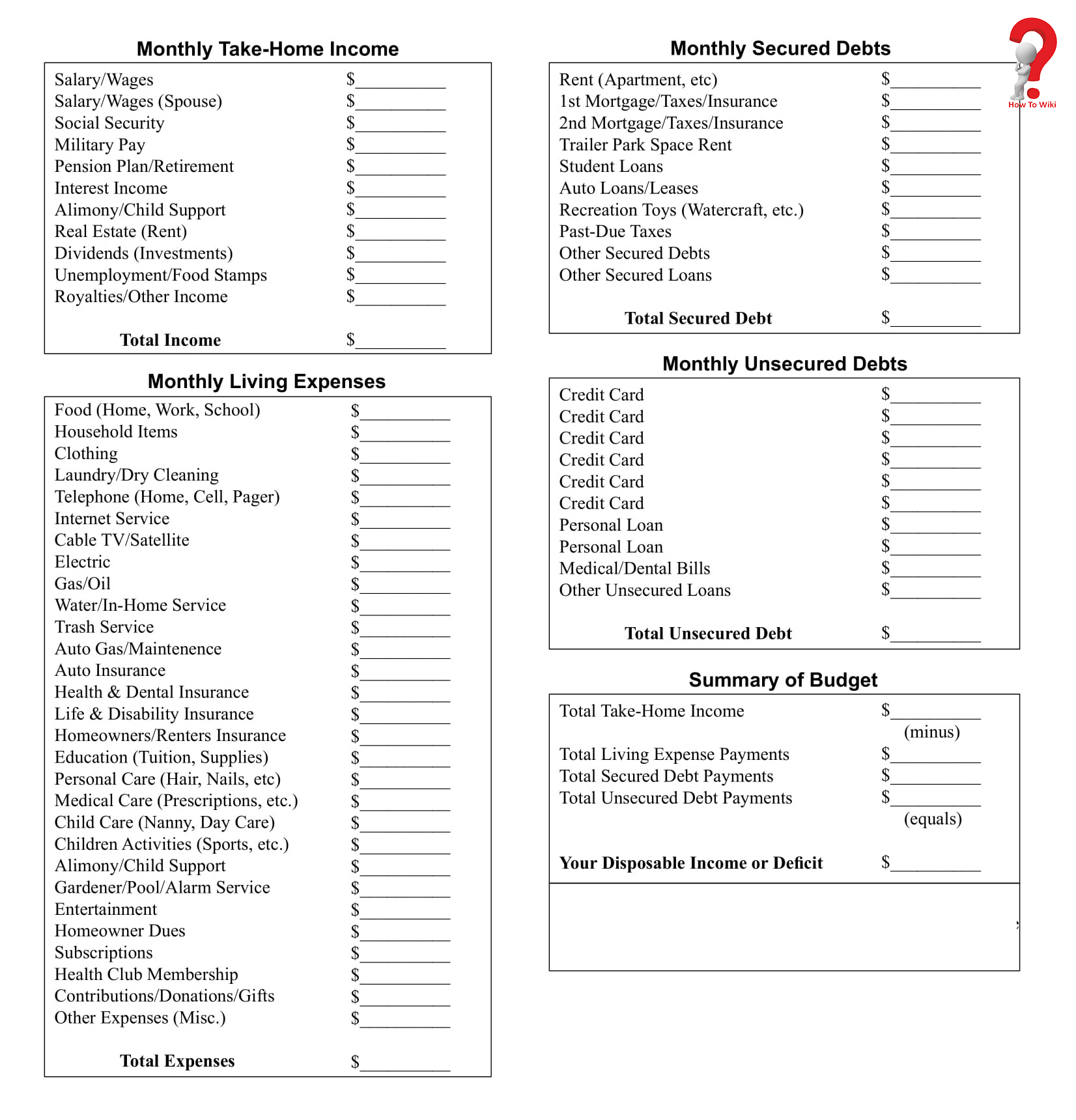 Monhtlyhousehold budget template
