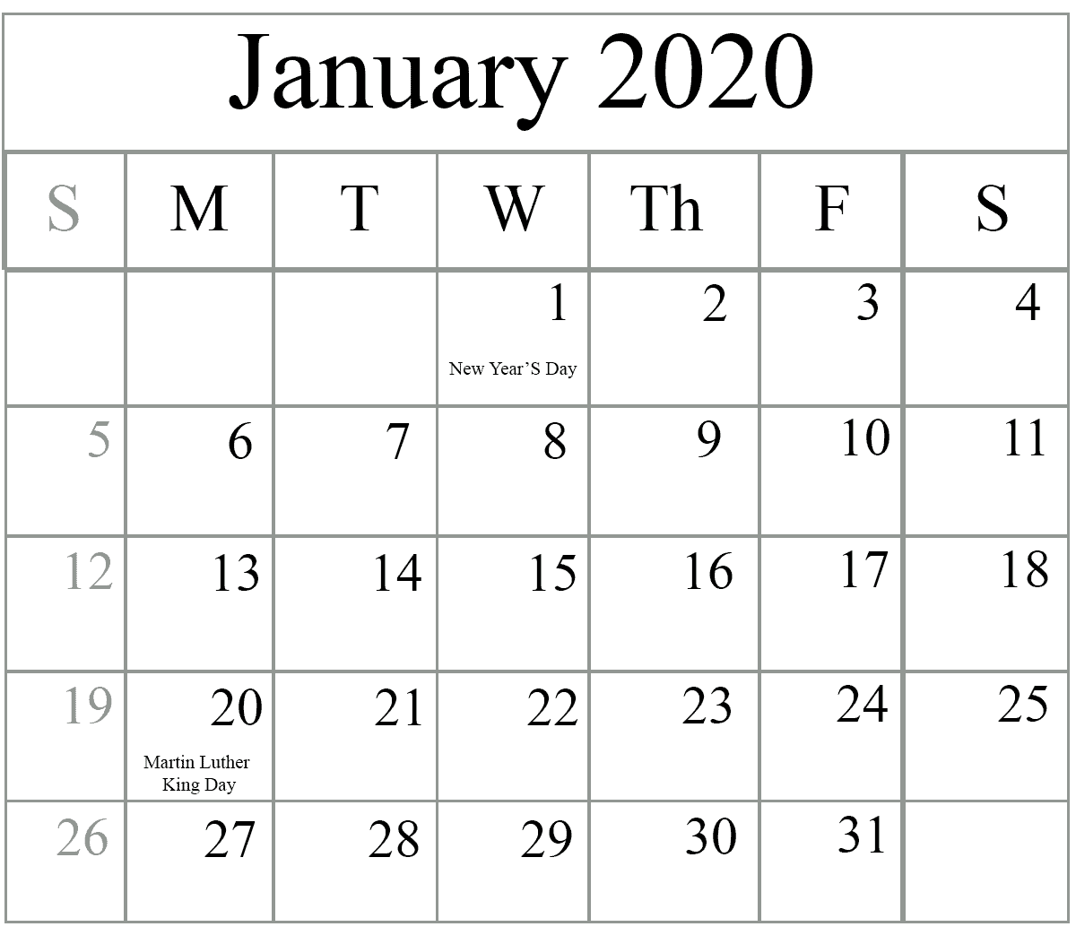 How To Schedule Your Month With January 2020 Printable