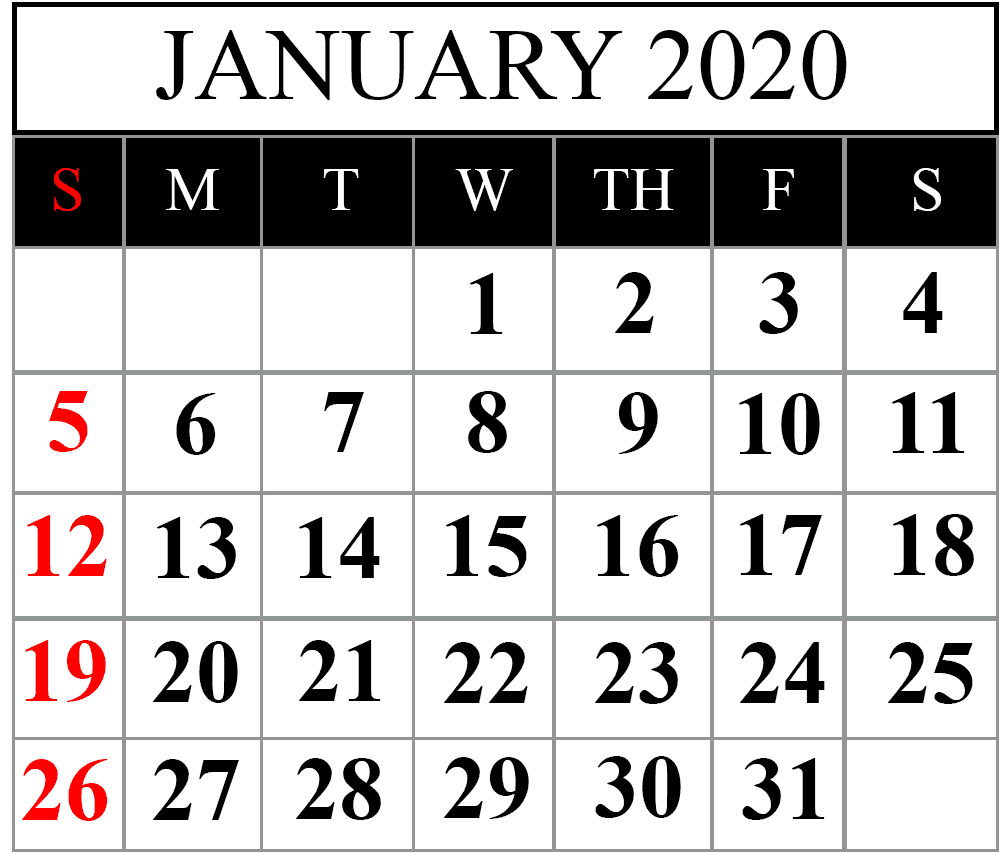 Printable January 2020 Calendar: How To Schedule Your Month With January 2020 Printable