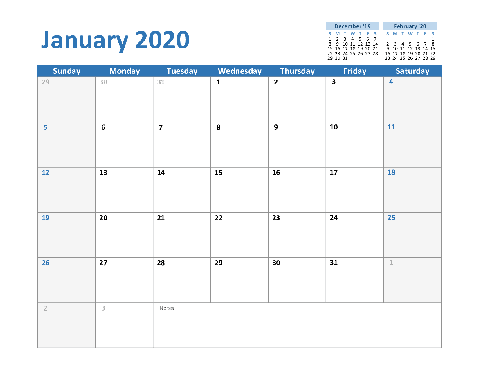January Calendar Template Monthly Schedule