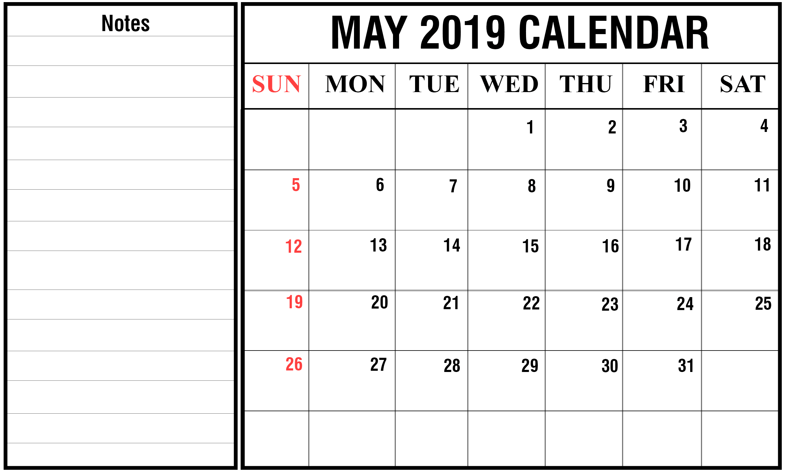 May Calendar 2020 with Holidays 3
