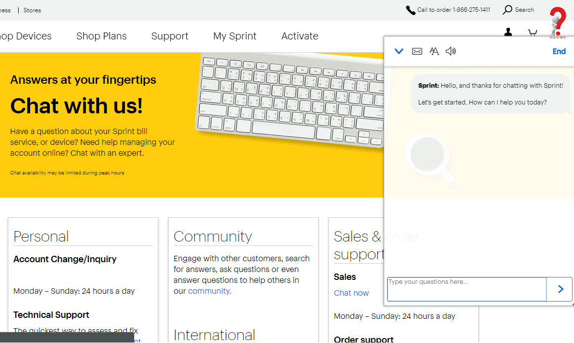 sprint chat support