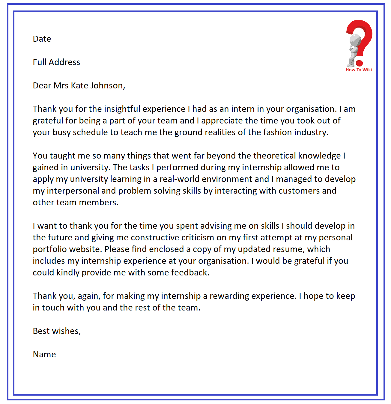 thank you letter after completion of internship