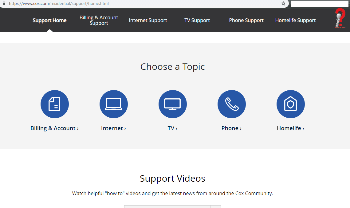 COX-customer-support-homepage