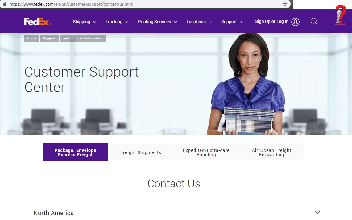 FedEx-Customer-Support-Page
