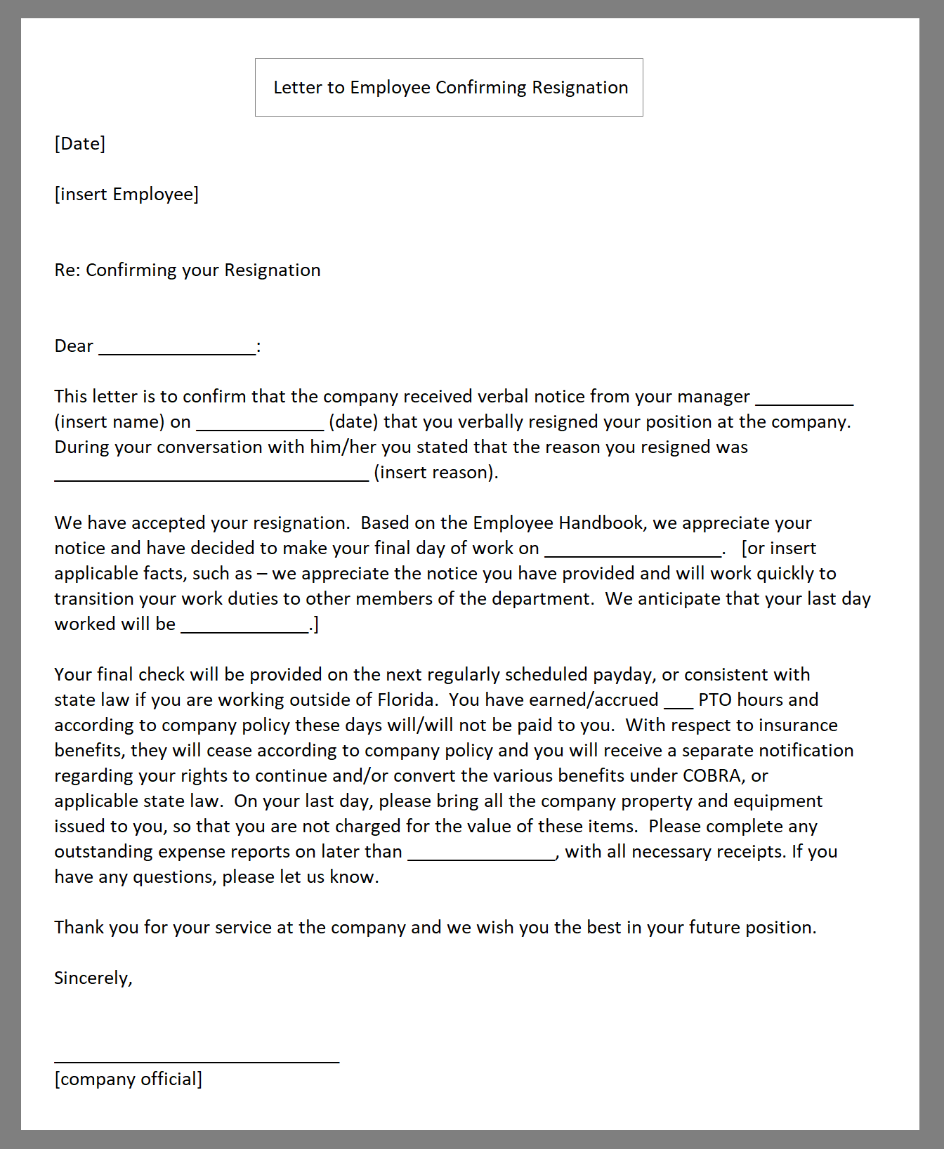Resignation Acceptance Letter With Immediate Effect