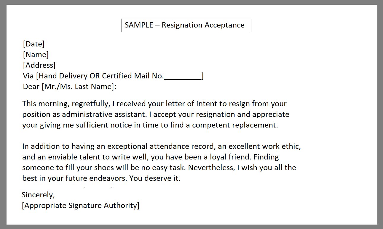 Resignation acknowledgement Letter sample