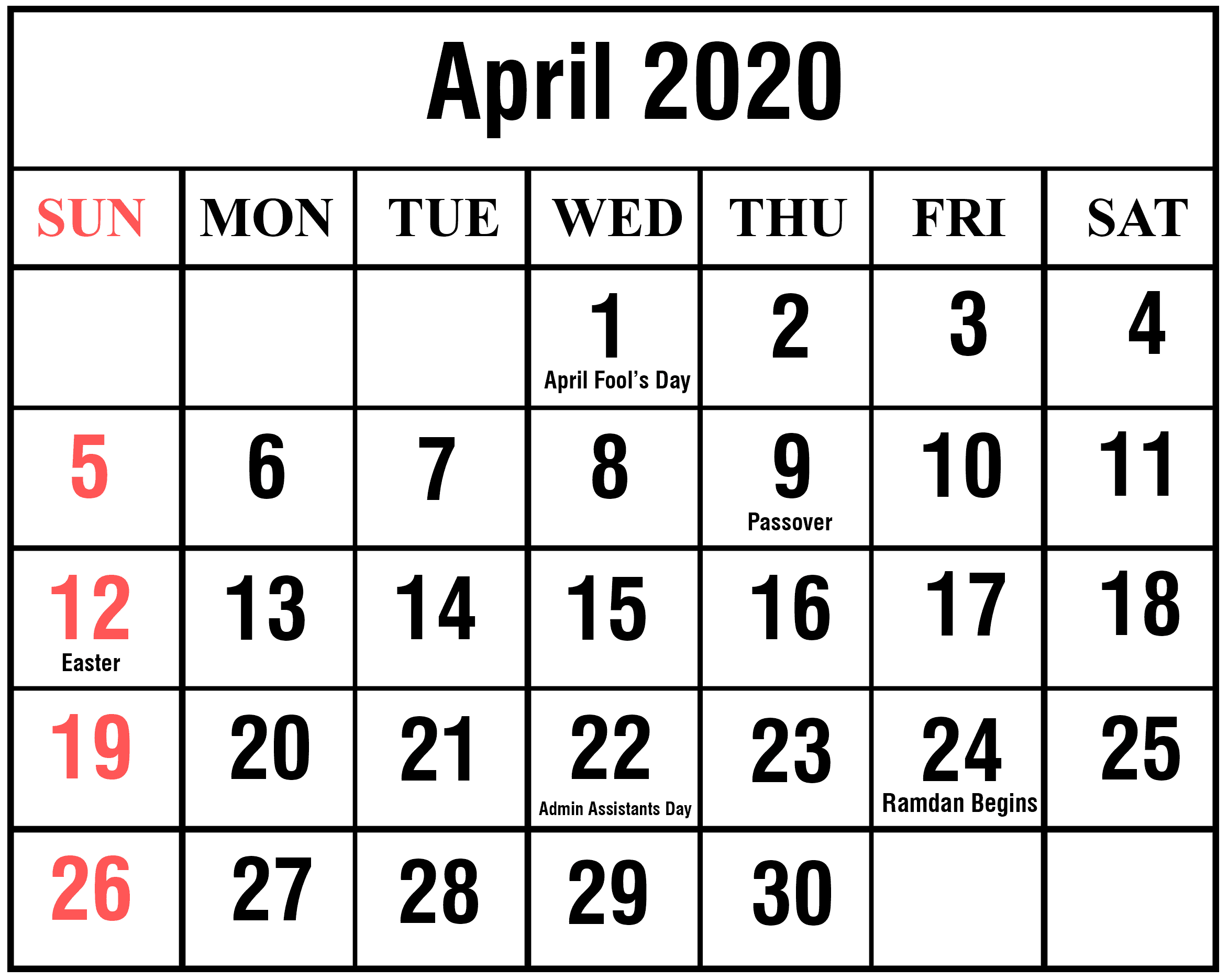 Downloadable April 2020 Calendar