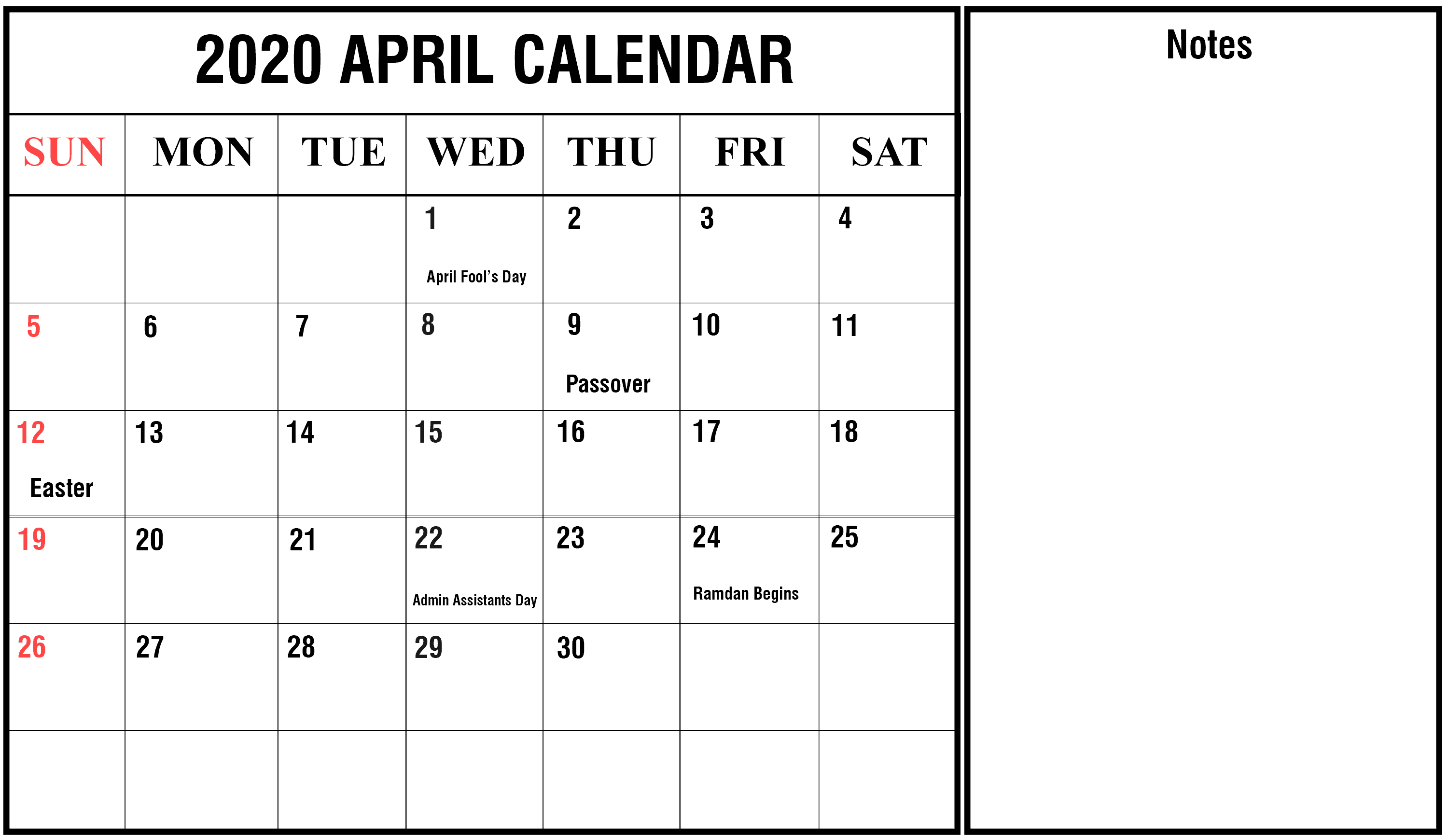 2020 April Calendar download