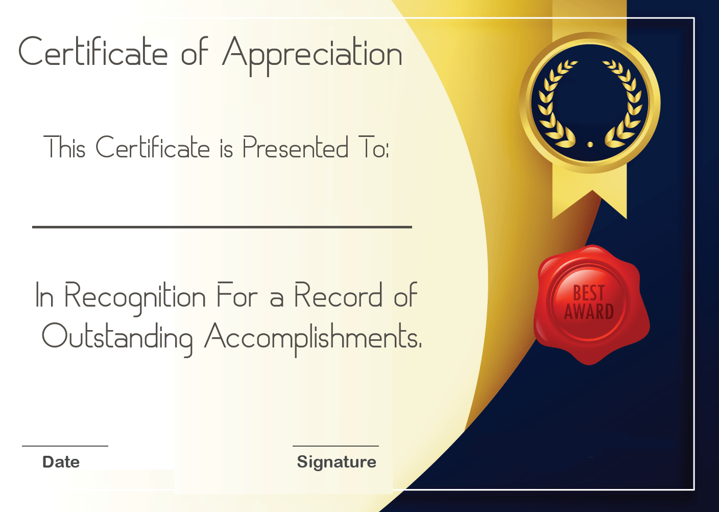 Certificate Of Appreciation Design