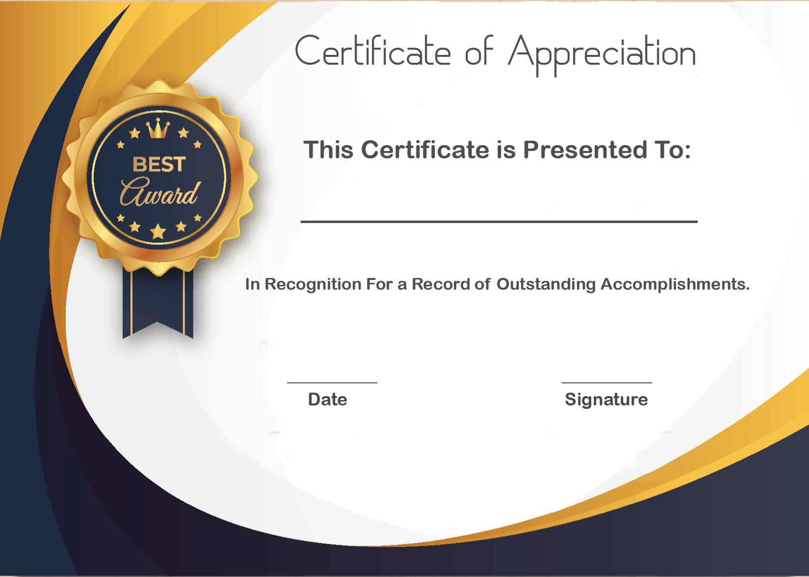 Certificate Of Appreciation For Donation
