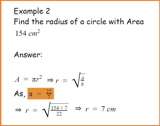 find radius of circle using area