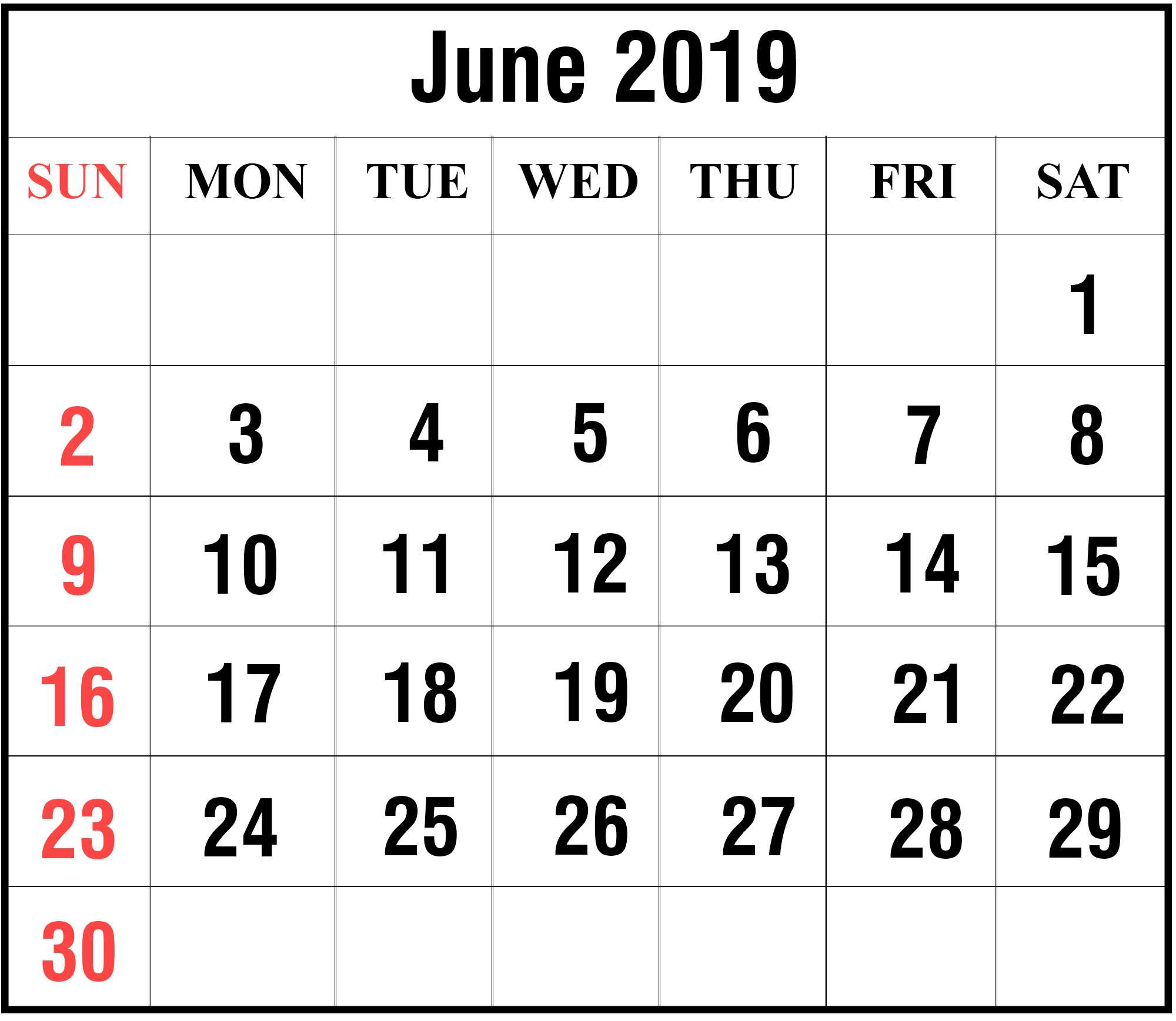 2020 June Holidays Calendar