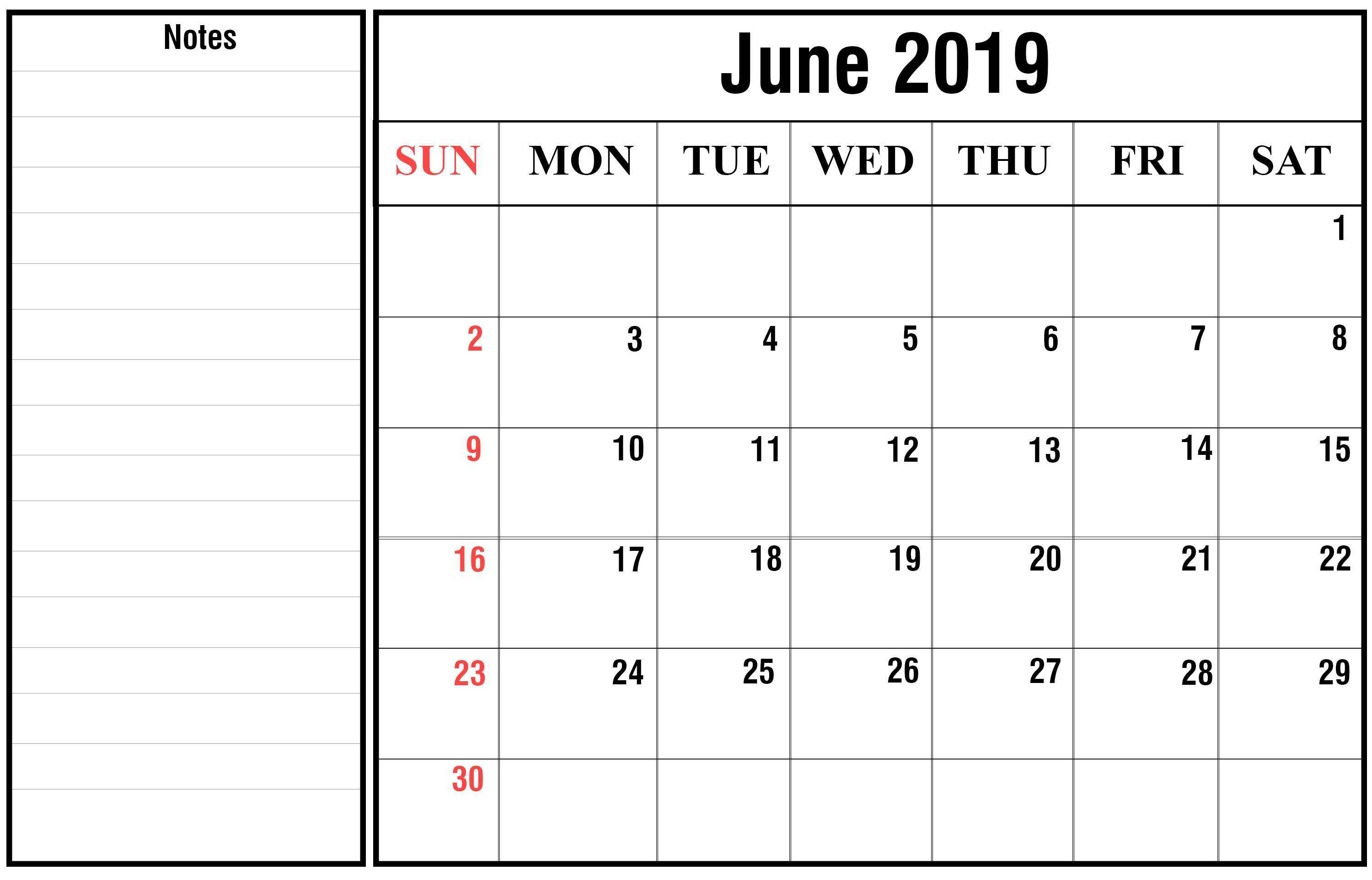 June Calendar 2020 with Holidays