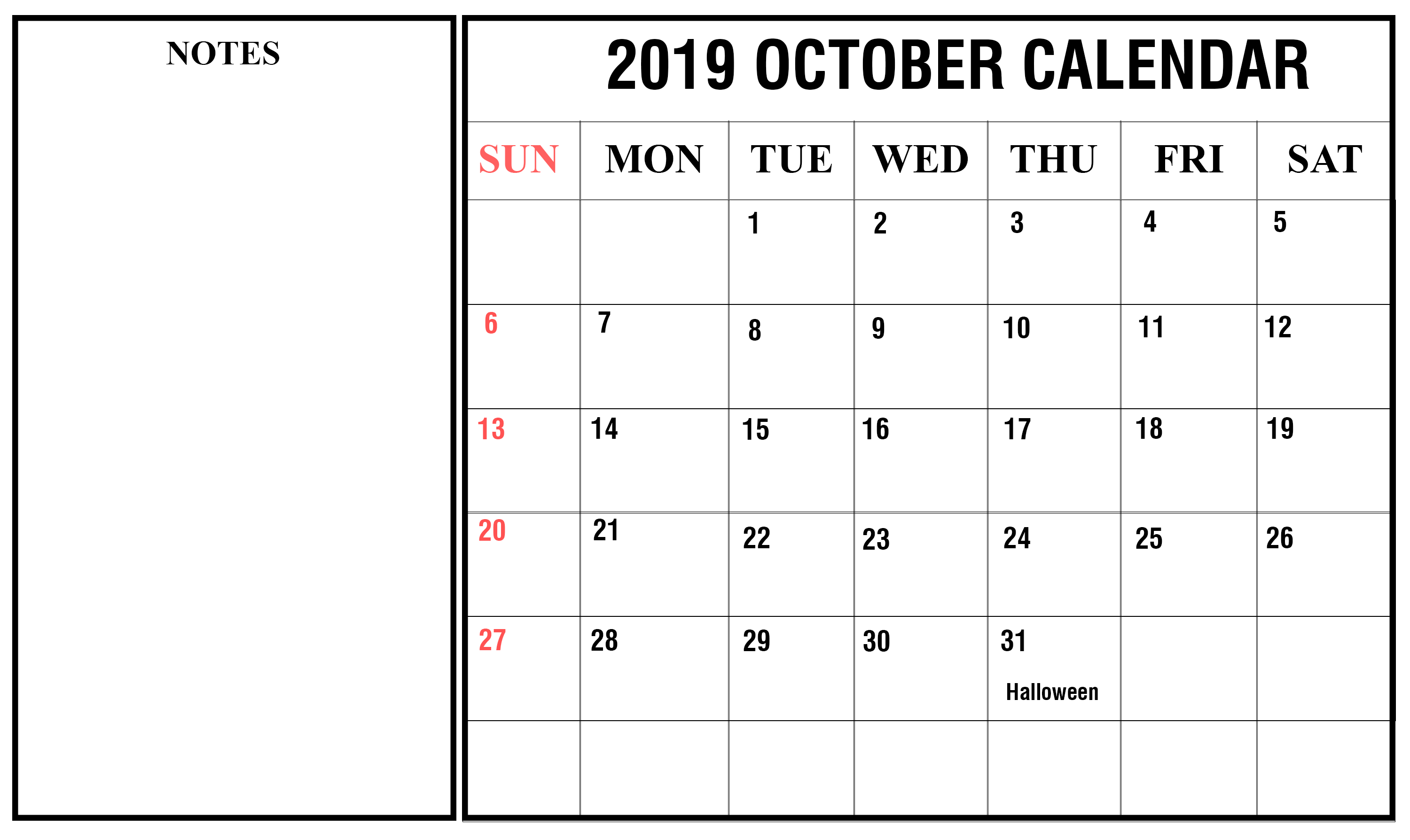 2019 October Holidays Calendar
