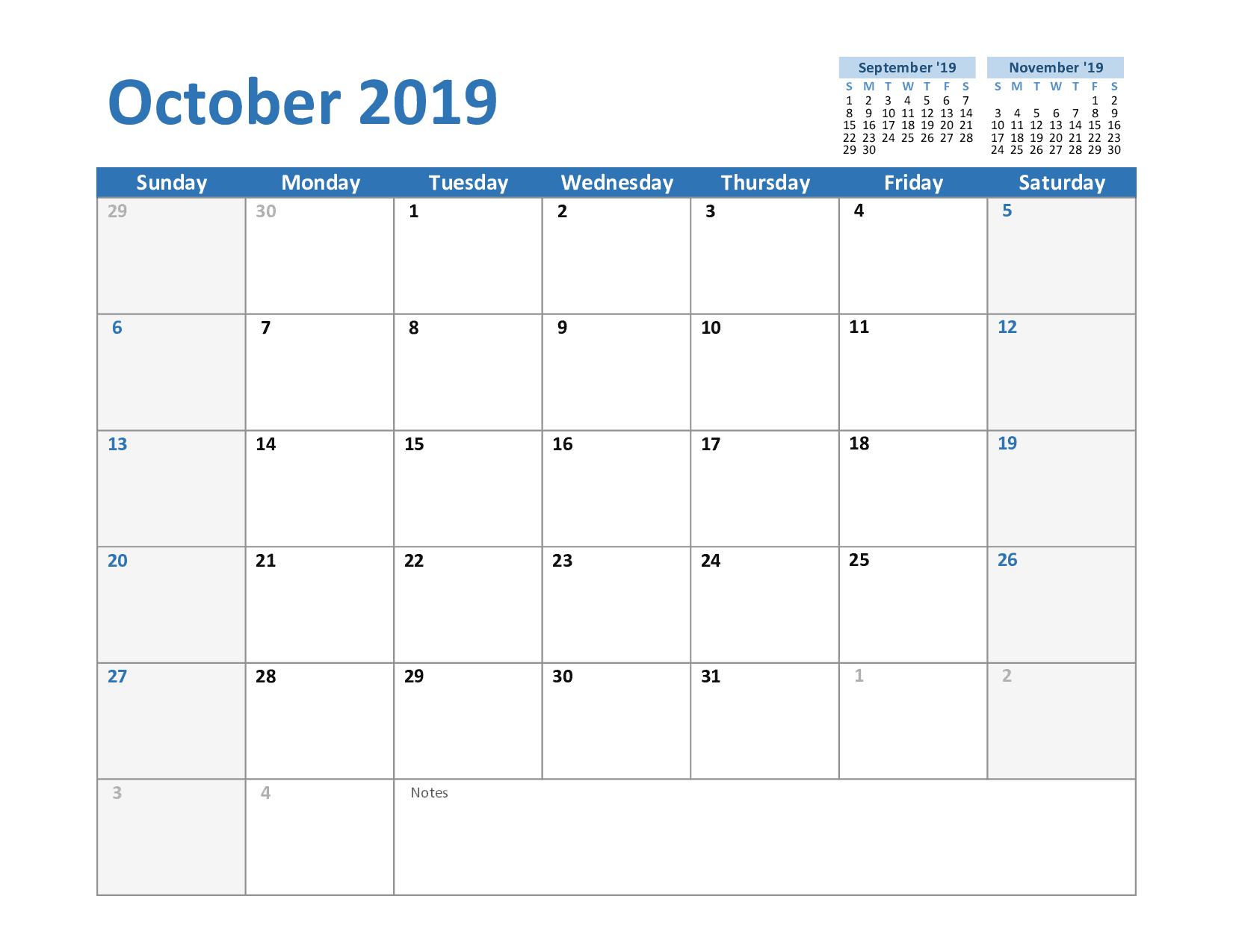 Printable October Templates