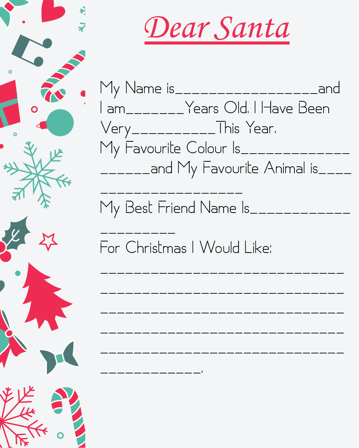 Customized Letter To Santa