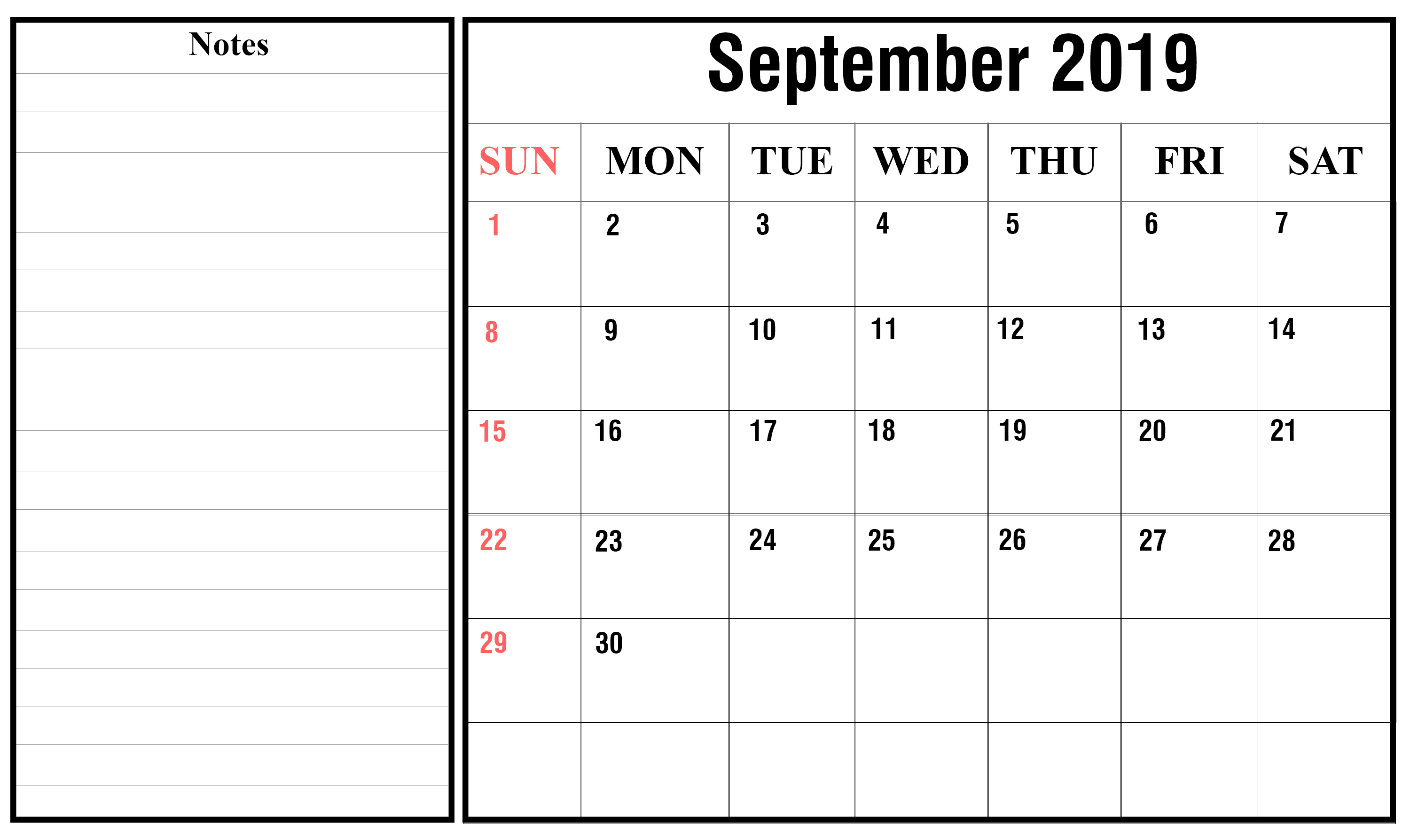 Download Calendar September 2019
