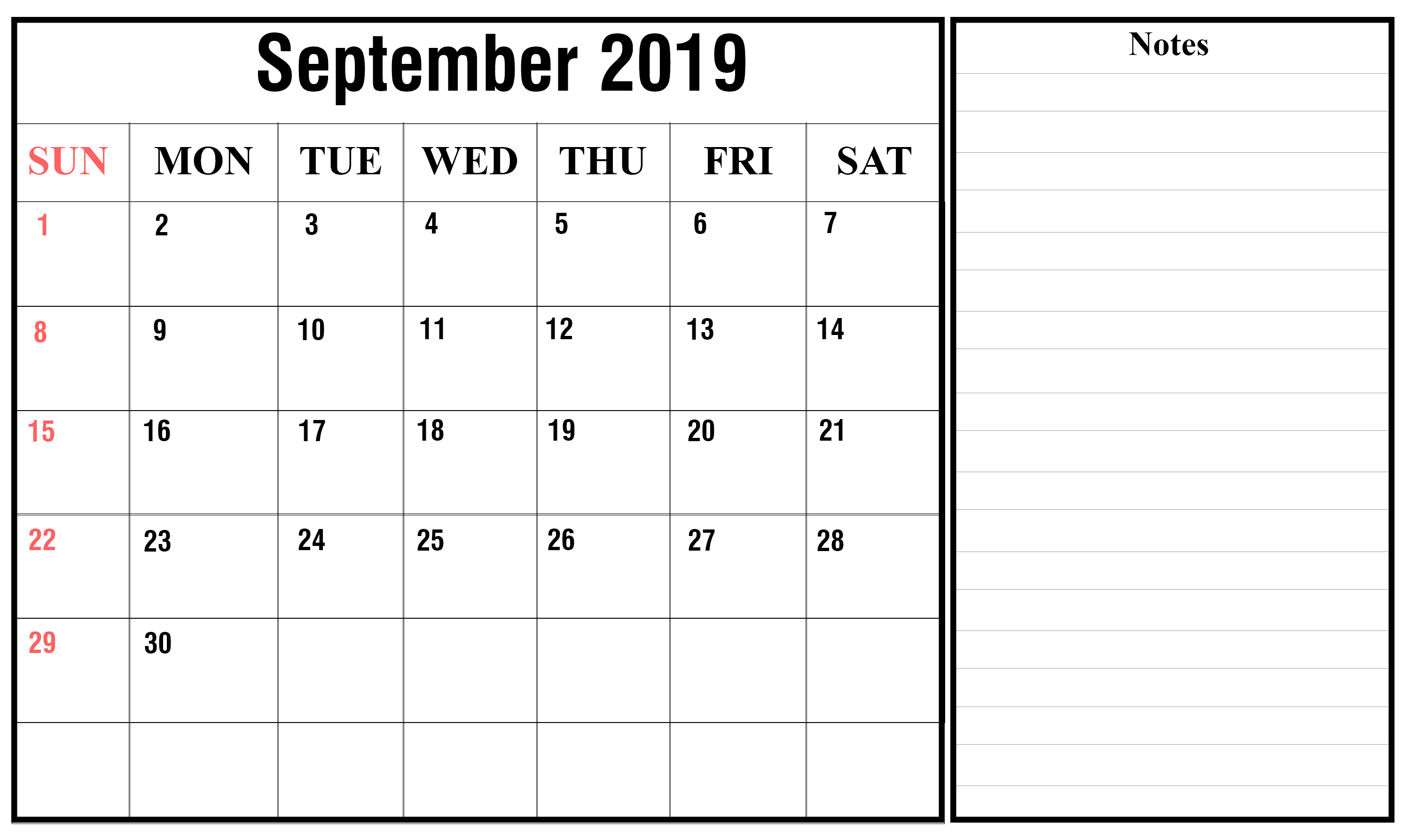 September calendar template free download