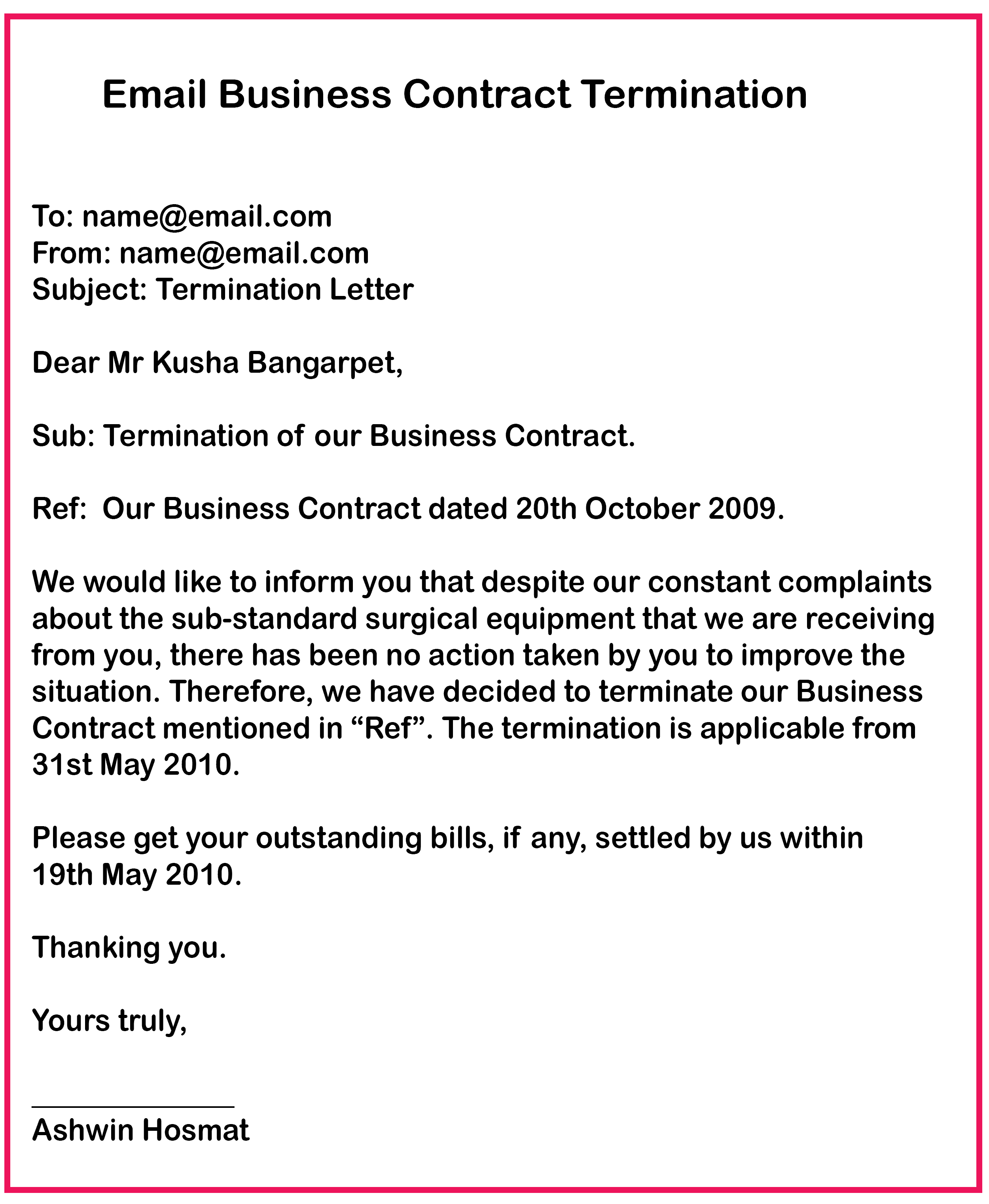Business Contract Termination email