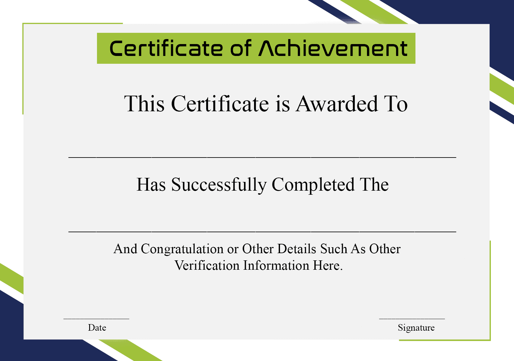 Certificate of Achievement For College