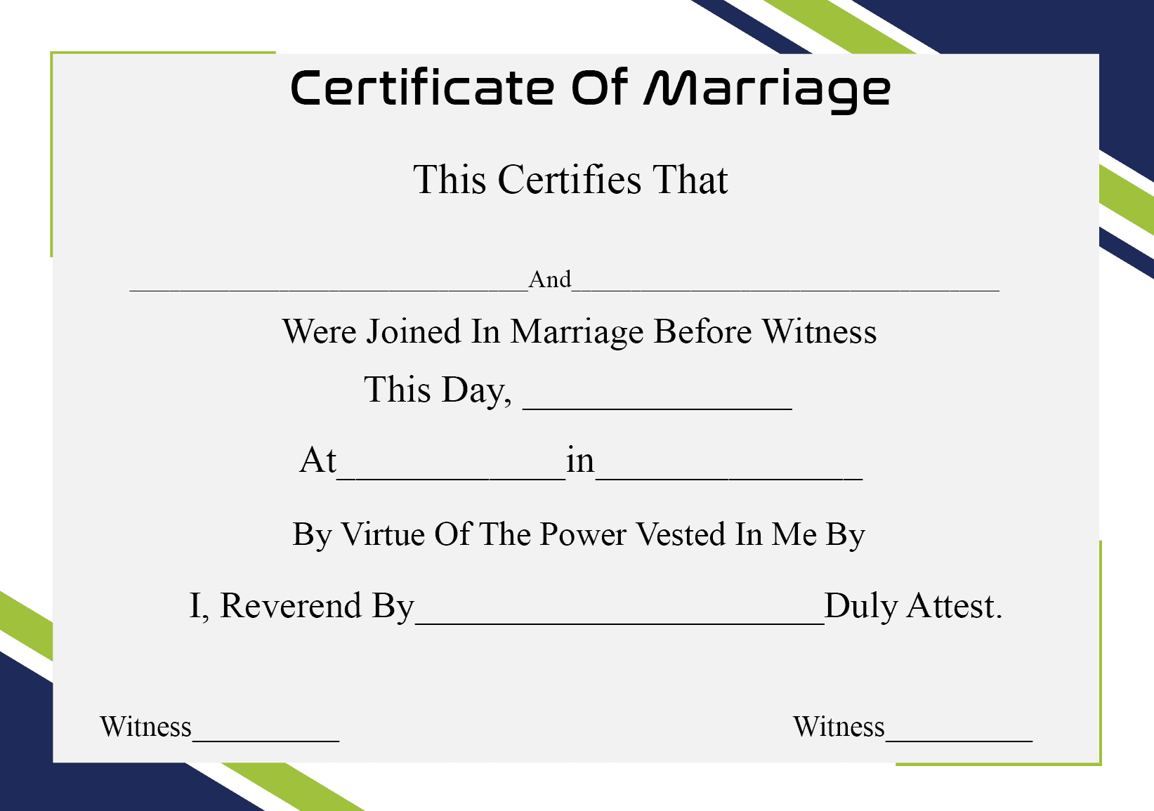 Certificate Of Marriage Sample