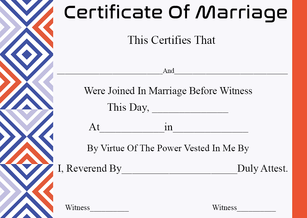 Blank Certificate Of Marriage
