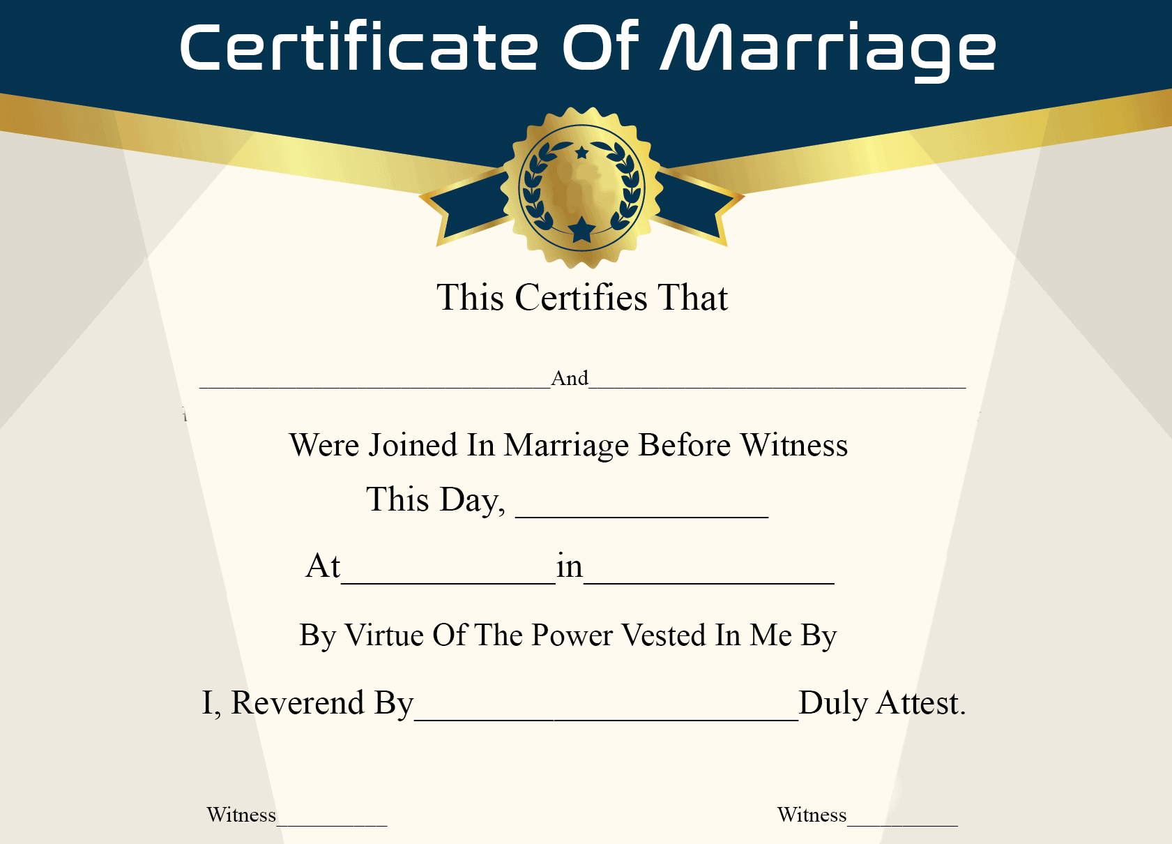 Printable Certificate Of Marriage